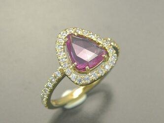【増税SALE 20%off】K18YG ピンクサファイア ダイヤモンド リング (414071B)の画像