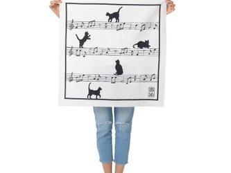 猫と楽譜柄風呂敷の画像