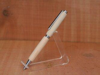 伊勢桧 神宮神域材 ご用材 2軸スリムモデル 銀のボールペンの画像