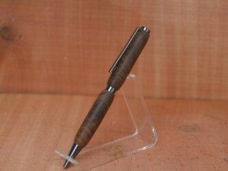 チーク瘤 2軸スリムモデル 世界三大銘木 銀のボールペンの画像