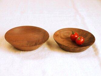 木のお皿・器 ブラックウォールナット材1 2皿セットの画像