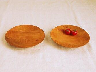 木のお皿・器 欅(ケヤキ)材1 2皿セットの画像