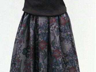大島紬リメイク:タックスカート の画像