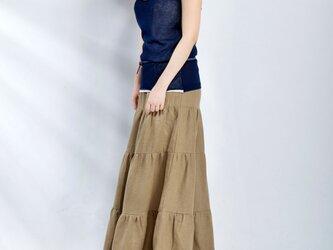 【受注製作】お色選択・リネン切り替えロングスカートの画像