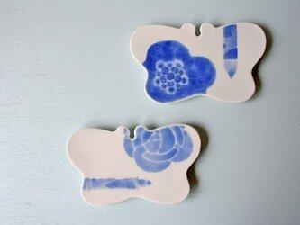 文学のための蝶皿(梅・筆)の画像