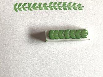 ラインの消しゴムはんこ③葉っぱの画像