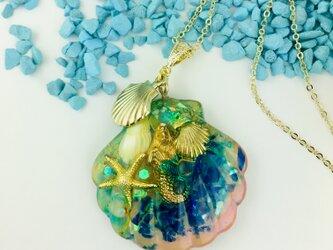 アクアマリン  Mermaid in the seaオルゴナイトペンダントの画像