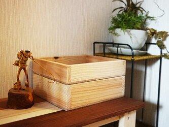 2段重ね・木の小物入れ/多目的ボックスの画像