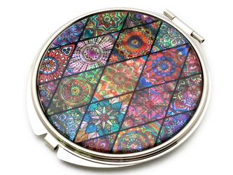 コンパクトミラー 天然貝仕様(ピンクモロッコタイル)<螺鈿アート>の画像