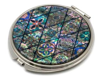コンパクトミラー 天然貝仕様(ブルーモロッコタイル)<螺鈿アート>の画像