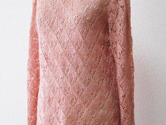 シンプル模様編みプルオーバー(サーモンピンク)の画像