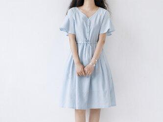 【L】爽やかゆったりシンプルな半袖ワンピース♪の画像