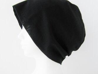 夏に涼しく下地にもなる ゆったりガーゼ帽子 黒(CGR-009-B3)の画像