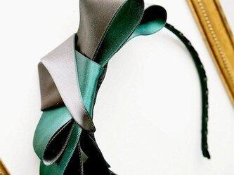 リバーシブルサテンリボンカチューシャ/blue /greenの画像