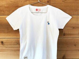 フラ 刺繍 クルーネックTシャツの画像