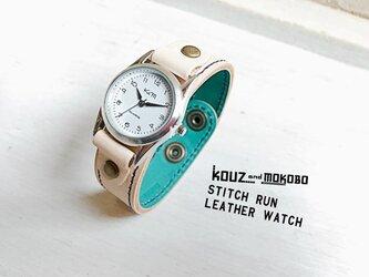 ▲STITCH 透き通るさわやか春色⌚「ステッチラン 腕時計」見やすい文字盤(SRW-WTW-NA)の画像