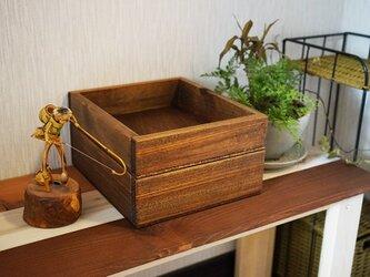 おじ様専用 2段重ね・木の小物入れ・アンティークブラウン/多目的ボックスの画像