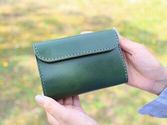 【受注生産品】三つ折り財布 ~栃木アニリン緑×栃木サドル~の画像