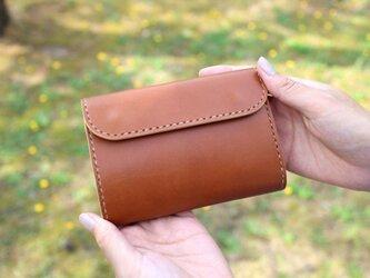 【受注生産品】三つ折り財布 ~栃木アニリンキャメル×栃木サドル~の画像