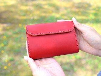 【受注生産品】三つ折り財布 ~栃木アニリン赤×栃木サドル~の画像