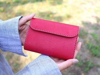 【受注生産品】三つ折り財布 ~姫路アニリンピンク×栃木サドル~の画像