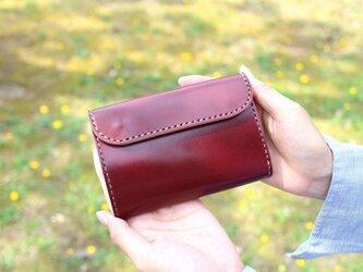 【受注生産品】三つ折り財布 ~栃木アニリンバーガンディ×栃木サドル~の画像