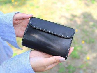【受注生産品】三つ折り財布 ~栃木ブラックサドル×栃木サドル~の画像