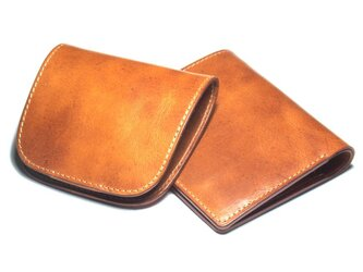 【セット割引・送料無料】小さなハーフウォレット & シンプルコインケース(牛革/プルアップ/Brown)の画像