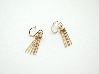 Short fringe earring 14kgf  フリンジ イヤリング/イヤークリップの画像