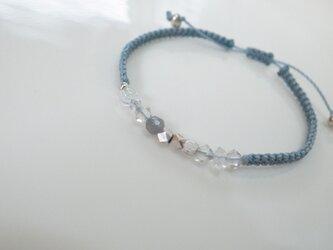 ラブラドライト&ハーキマーダイヤモンド マクラメ結びブレスレットの画像