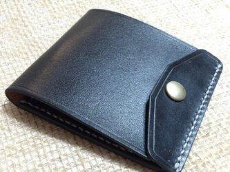【右開口カードポケット2 黒】薄型シンプル札ばさみ MC-08-BL マネークリップ ヌメ革の画像