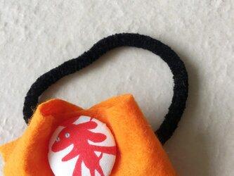 アカイヌ フエルトヘアゴム オレンジの画像