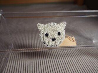 クマさんブローチ(白) 小の画像