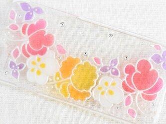 ☆iPhone・他機種作成可☆ ステンドグラス風ダイヤモンドクリスタルケース*Tropical Flower*の画像