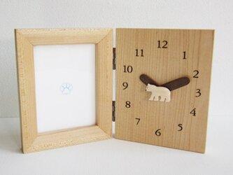 polar bear 時計付きフォトスタンドの画像