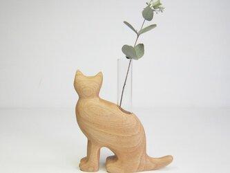 猫の一輪挿しの画像