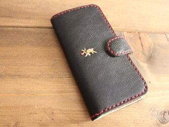 タンニン鞣しレザー 手縫い手帳タイプ スマホケース(iPhone6S)黒の画像