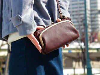 【送料無料】お財布ショルダー ブラウン がま口 スマホ財布 姫路レザーaw-17nnsの画像