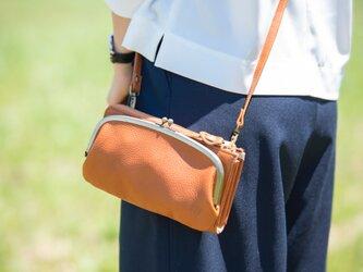 【送料無料】お財布ショルダー キャメル がま口 スマホ財布 姫路レザーaw-17nnsの画像