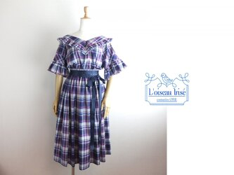 先染めチェックのセットアップスカートの画像