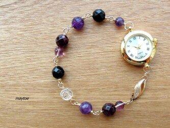 アメジスト&ガーネット*14kgfジュエリー腕時計の画像