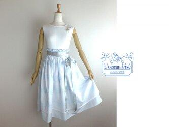 ボタニカル刺繍のデザインスカート 水色の画像