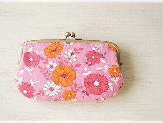 ■ヴィンテージ生地の親子がま口長財布 / ピンクとオレンジの花柄■の画像