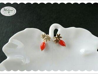 赤珊瑚のリーフデザインピアスの画像