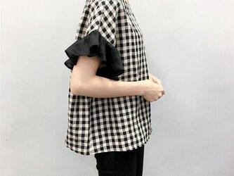 en-enリネン・ブロック黒ベージュ・バイカラーフリルお袖(新作、人気、麻)の画像