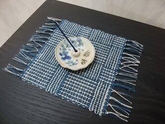 【送料無料】手織りコースター(藍×ベージュ)の画像