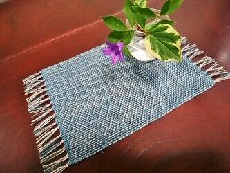 手織りミニセンター(藍×ベージュ) no.3の画像