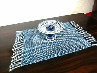 手織りミニセンター(藍×ベージュ) no.4の画像