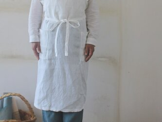 ホワイトリネンエプロン!リトアニアリネンで作製した男女兼用フルエプロン の画像