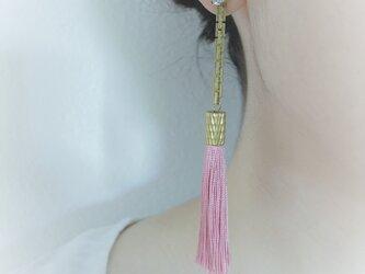 シルクタッセルロングピアス モーヴ tassel pierced earrings <PETS-3MPK>の画像